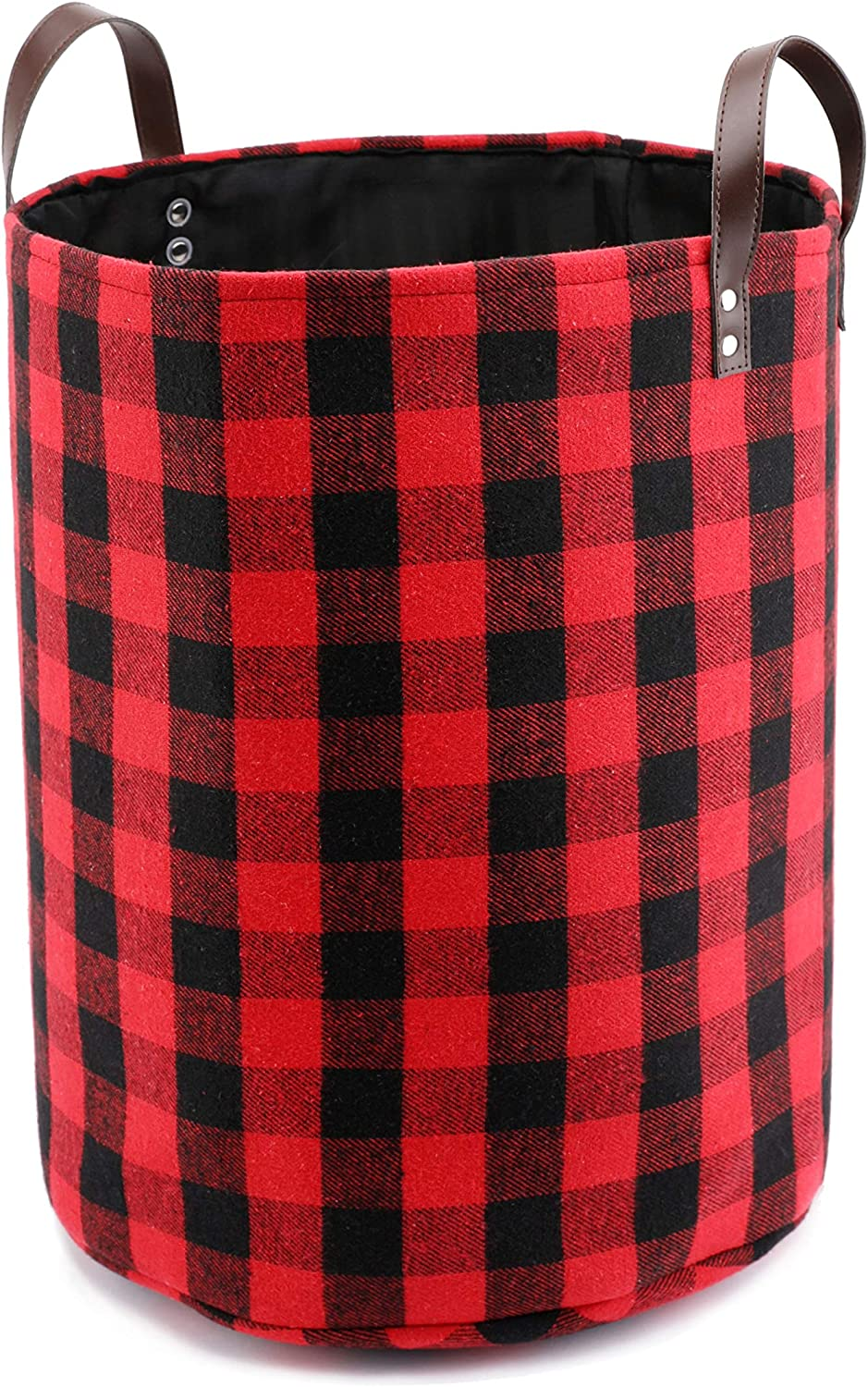 """17.7"""" Large Collapsible Storage Basket with Leather Handles, Red Buffalo Plaid Woolen Fabric Foldable Tote Bags Round Home Decorative Organizer Bin"""