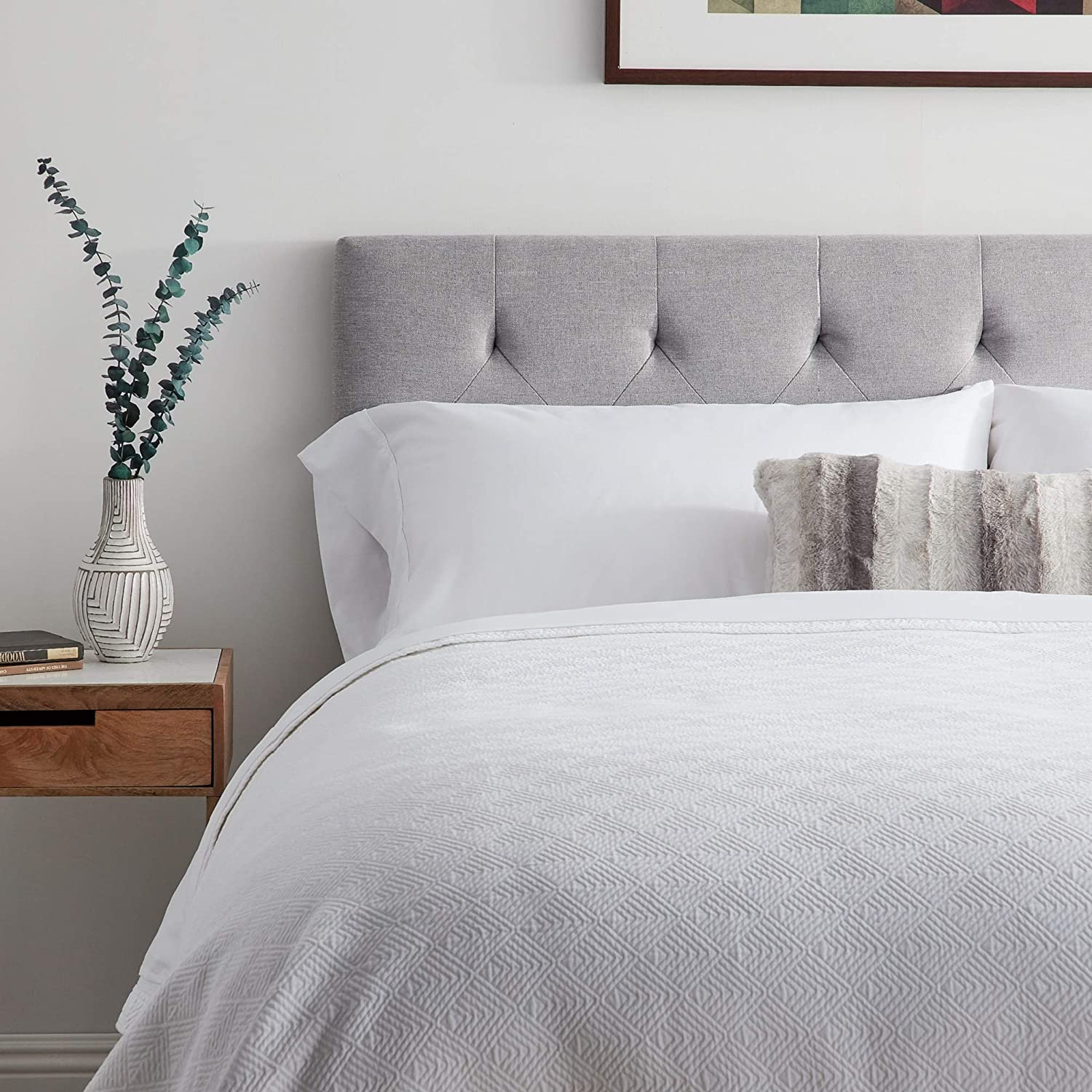 LUCID LUTTRSPE21HB Square Tufted Mid Rise Headboard Soft Linen Inspired Fabric Adjustable Height Twin//Twin XL Durable Wood Construction