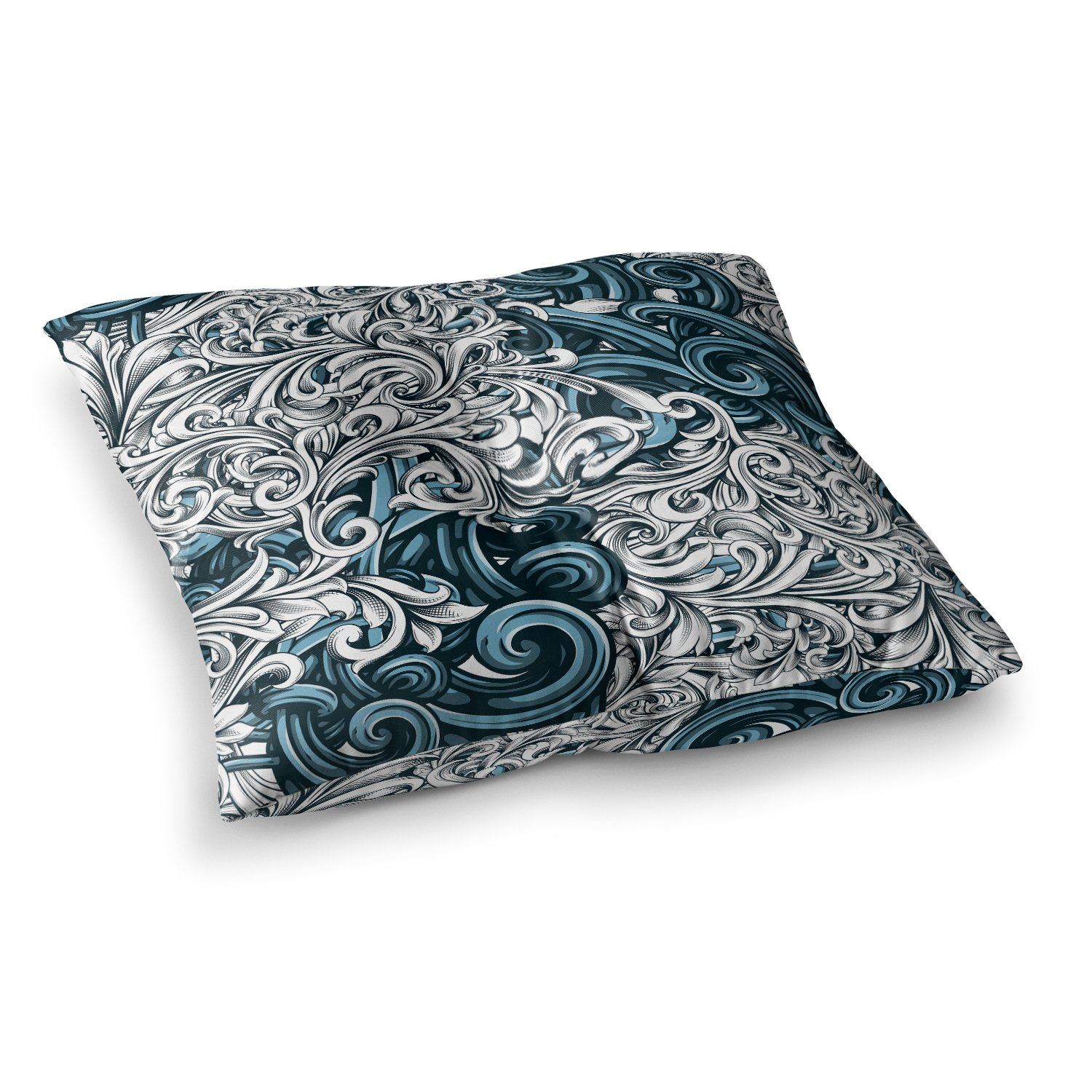 Kess InHouse Nick Atkinson Celtic Floral II Abstract Blue Square Floor Pillow 23 x 23 NA1015BSF01