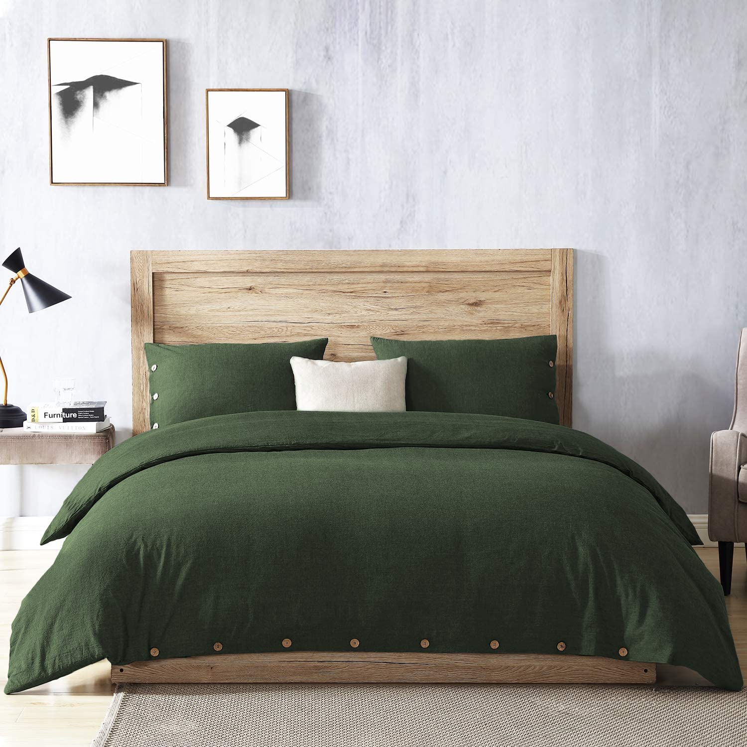 EXQ Home 100% Washed Cotton Olivinie Green Duvet Cover Set King Size 3 Pcs, Super Soft Bedding Vintage Comforter Cover with Button Closure (Breathable)