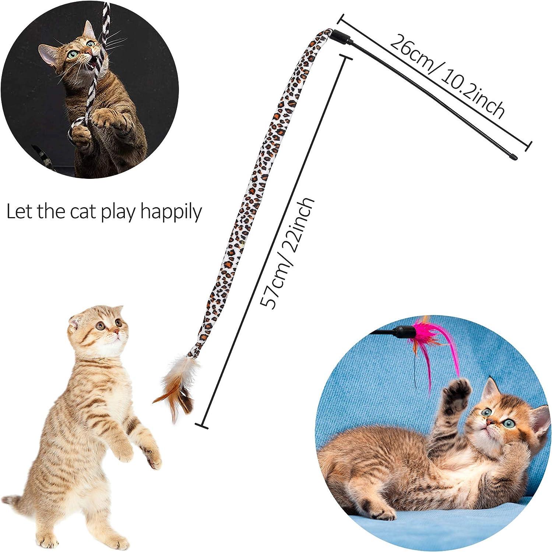 FT-SHOP Giocattoli per Gatti 21 Pezzi Giocattoli Interattivi Giochi Gatto Includere Tunnel Campana Mouse Palle Bacchetta Piumata per Gattino Kitten Indoor