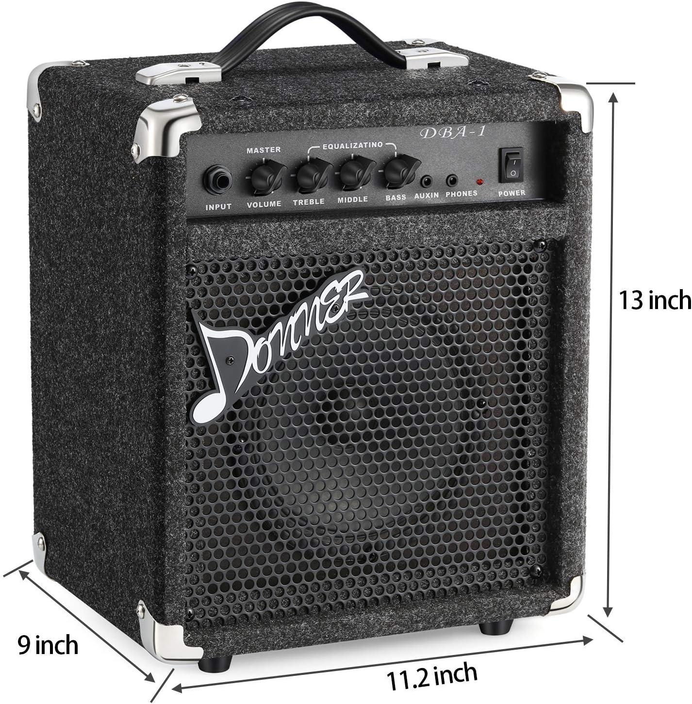 Donner DPB-510B Full-Size Full Size 4 Strings Electric Bass Guitar Sunburst Beginner Starter Kit with Bag and Bass Amp 15W Bass Guitar Amplifier DBA-1