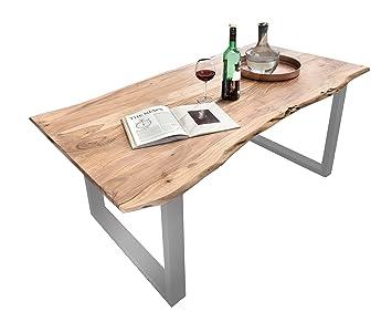 Esszimmer Tisch Mephisto 200 X 100 Cm Aus Akazie Holz, Esstisch Mit Silber