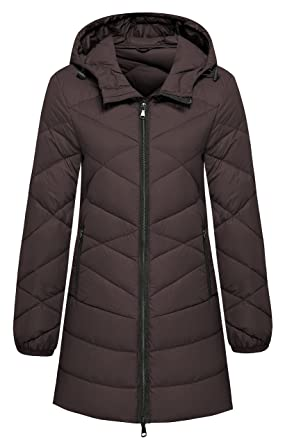 978c13ed94d358 Wantdo Women's Hooded Packable Light Weight Lengthed Down Jacket Coffee  Small