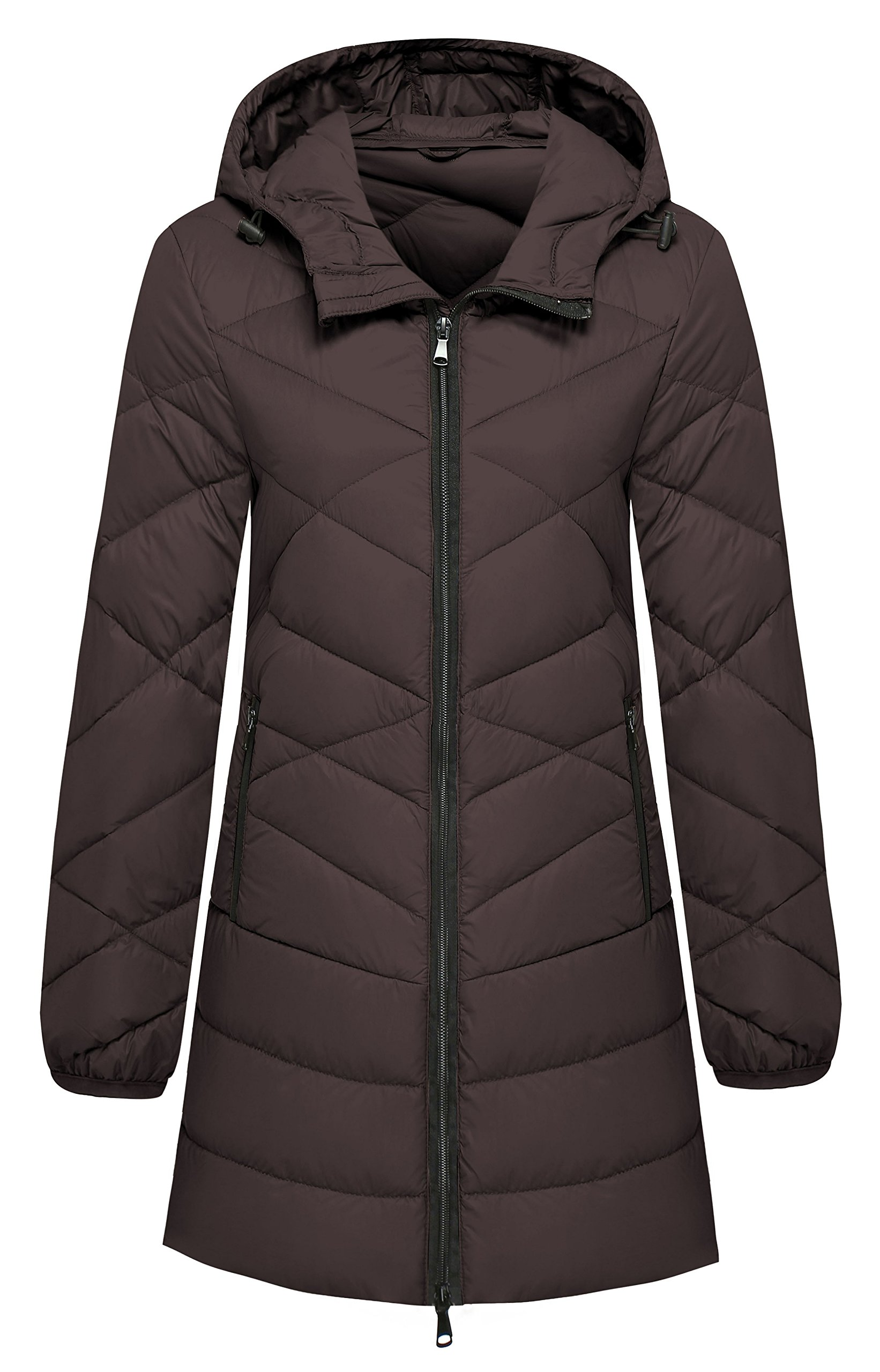 Wantdo Women's Hooded Packable Ultra Light Weight Lengthed Down Jacket, Coffee, Large