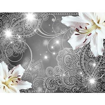 Fototapeten Lilien Blumen Grau 352 x 250 cm Vlies Wand Tapete Wohnzimmer  Schlafzimmer Büro Flur Dekoration Wandbilder XXL Moderne Wanddeko - 100%  MADE ...