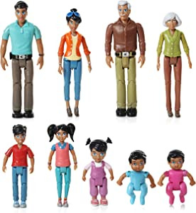 Beverly Hills Doll Collection Sweet Li'l Family Hispanic Dollhouse People Set of 9 Action Figure Set - Grandpa, Grandma, Mom, Dad, Sister, Brother, Toddler, Twin Boy & Girl