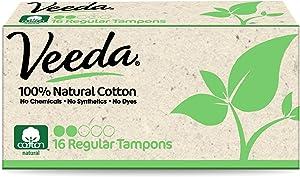 Veeda 100% Natural Cotton Applicator Free Tampons Super Absorbent Comfort Digital Regular Tampons Chlorine Toxin and Pesticide Free, 16 Count