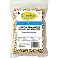 Gerbs Lightly Sea Salted Whole Pumpkin Seeds, 1 LB. – Top 14 Food Allergy Free & NON GMO - Vegan, Keto Safe & Kosher - Grown in USA