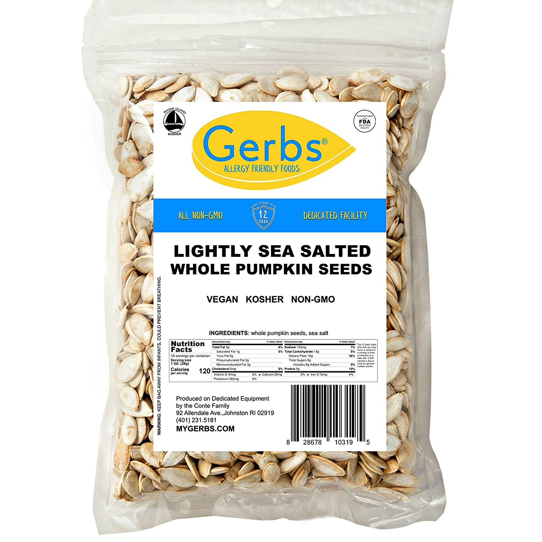 Gerbs Lightly Sea Salted Whole Pumpkin Seeds, 1 LB. – Top 14 Food Allergy Free & NON GMO - Vegan, Keto Safe & Kosher - Grown in USA