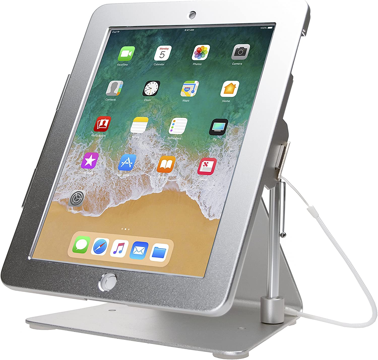 CTA Digital: Desktop Anti-Theft iPad Stand for with iPad Air, iPad Pro 9.7, iPad Gen. 6 (2018), iPad Gen. 5 (2017), iPad (Gen. 2-4); Compatible with Headphone Jack Credit Card Readers, Silver