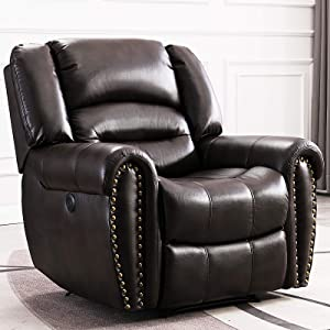 ANJ Electric Recliner Chair W/Breathable Bonded Leather, Classic Single Sofa Home Theater Recliner Seating W/USB Port (Brown)