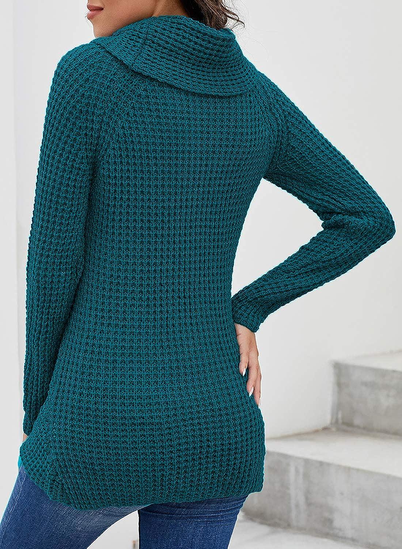 Asvivid Womens Button Turtleneck Cowl Neck Asymmetric Hem Wrap Pullover Sweater Tops