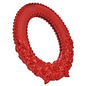 Thrifty Shopper Classic Oval Shape Red Rose Style Design Wall Mounted Mirror (Red)