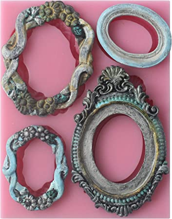 Silicone Woman Cameo Mirror Frame Fondant Mould Chocolate Baking Deco# Mold N1J8