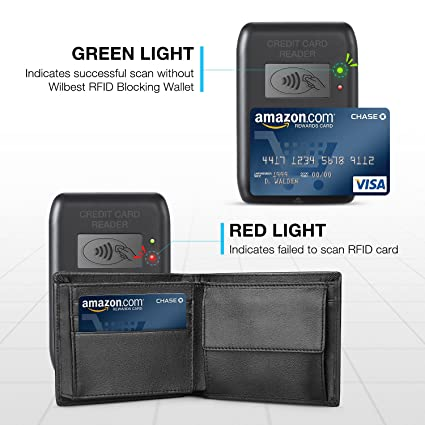 Negro Billeteras Hombre Wilbest, Cartera de Piel, Carteras Hombre Cuero, Tarjetas de Crédito Slim Moda RFID Bloqueo Monedero de Cuero (+Botones de ...