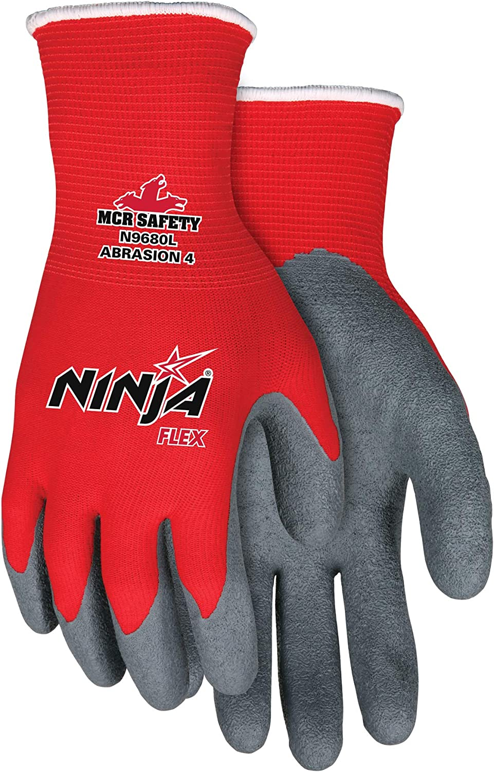 Memphis Glove N9680S Ninja Flex Nylon Shell Gloves with Latex Dip Palm and Fingertips, Gray/Red, Small, 1-Pair