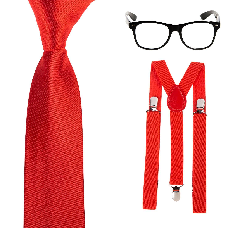 Robelli Geek/Nerd disfraz – Slim Corbata, tirantes y gafas (rojo ...