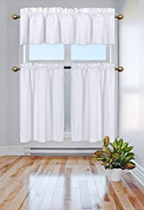 Elegant Home Collection 3 Piece Solid Color 90% Blackout Kitchen Window Curtain Set with Tiers and Valance Solid Thermal Room Darkening Drape Window Treatment # R3 MF (White)