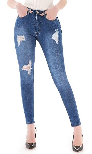 Menina Vaqueros Ajustados elásticos de Mujer Pantalones de ...
