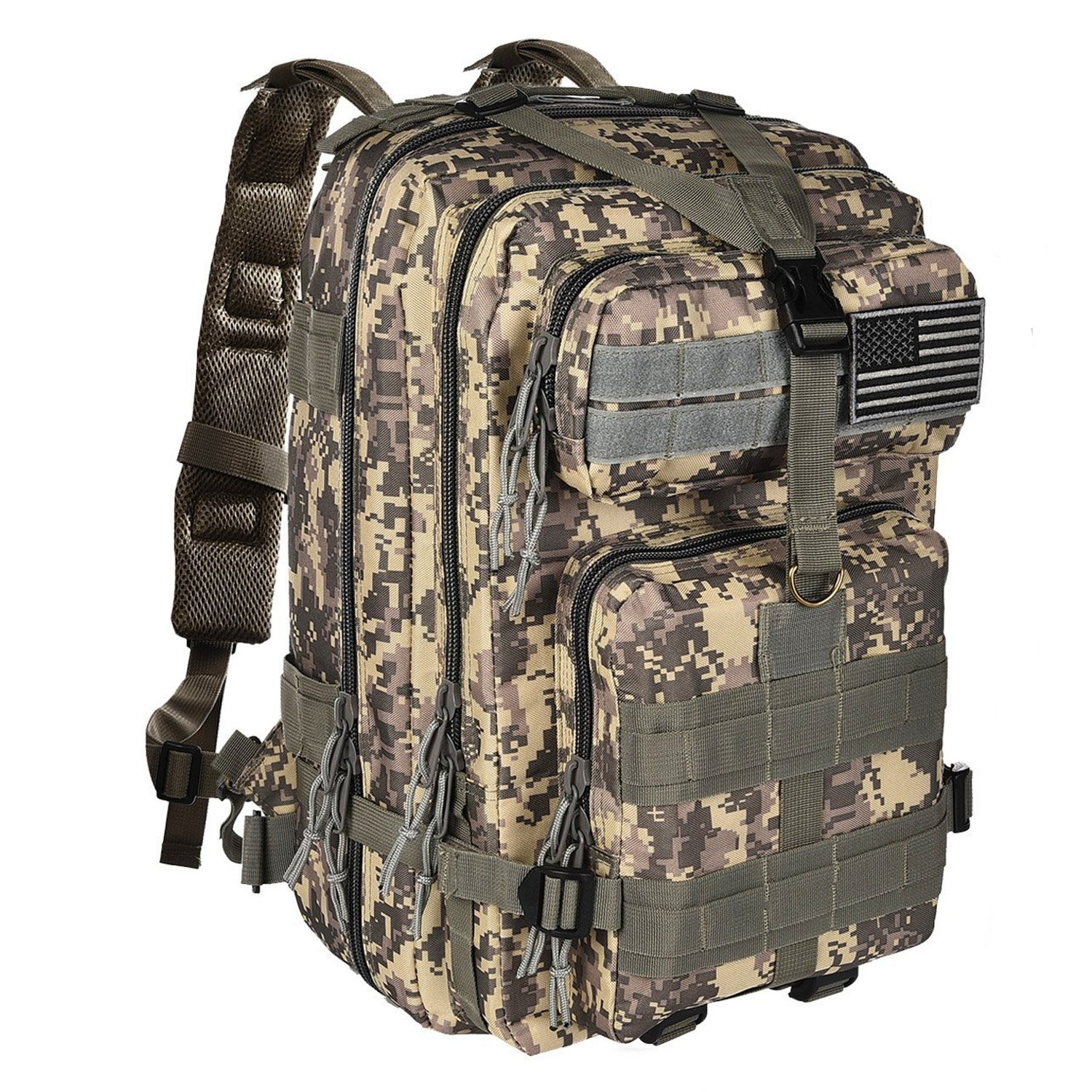 NOOLA 40L Military Tactical Army Backpack 3 Day Pack Molle Bag Backpack Rucksacks for Outdoor Hiking Camping Trekking Hunting with Flag Patch ACU