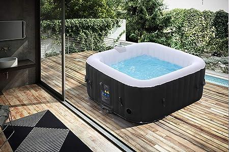 Arebos - Jacuzzi hinchable - 4 personas - 130 boquillas - 154 x 154 cm - 550 litros - Piscina spa - Masaje, calefacción, bienestar