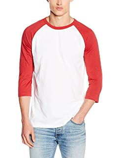 Mens 3/4 Sleeve Raglan T-Shirt, White/Red (Bright Red), X-Large New Look