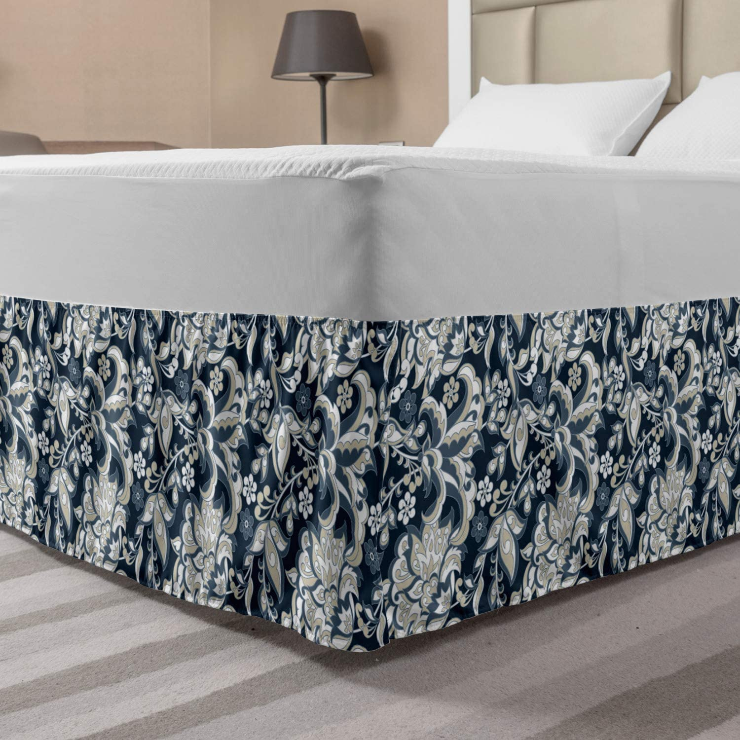 Ambesonne Asian Bedskirt, Floral Illustration Oriental Eastern Style with Traditional Influences, Bedroom Decor Wrap Around Elastic Bed Skirt Gathered Design, Queen, Pale Grey
