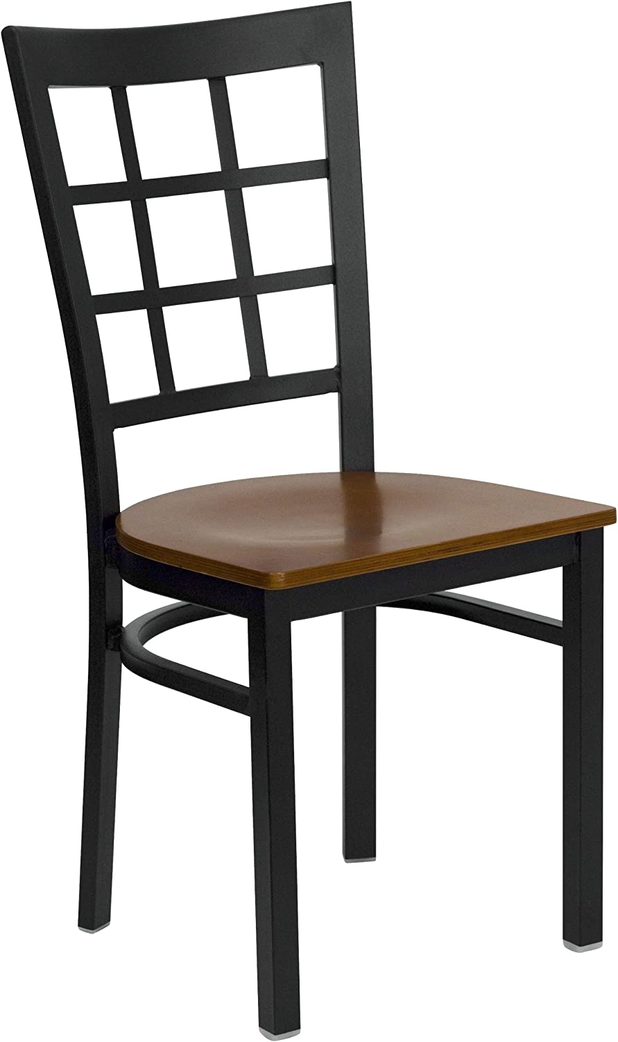 Flash Furniture HERCULES Series Black Window Back Metal Restaurant Chair -  Cherry Wood Seat