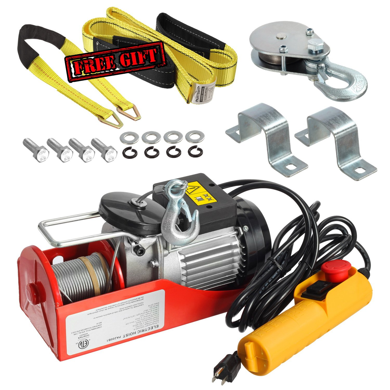 Partsam 440 lbs Lift Electric Hoist Crane Remote Control Power System, Zinc-Plated Steel Wire Overhead Crane Garage Ceiling Pulley Winch w/Premium Straps (UL/CUL Approval, w/Emergency Stop Switch) by Partsam (Image #8)