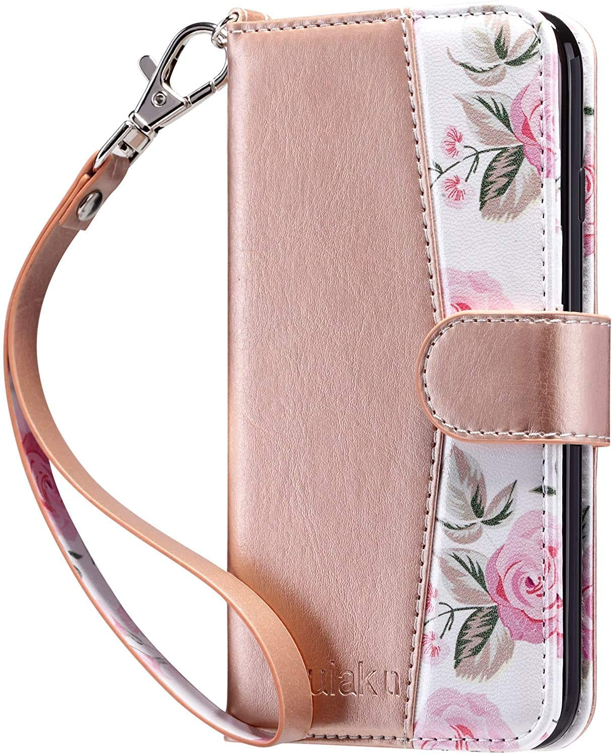 ULAK iPhone 8 Plus Case, iPhone 7 Plus Flip Wallet Case, PU Leather Wallet Case with Card Holders Kickstand Hand Strap Shockproof Protective Cover for Apple iPhone 7 Plus/8 Plus 5.5 Inch, Floral