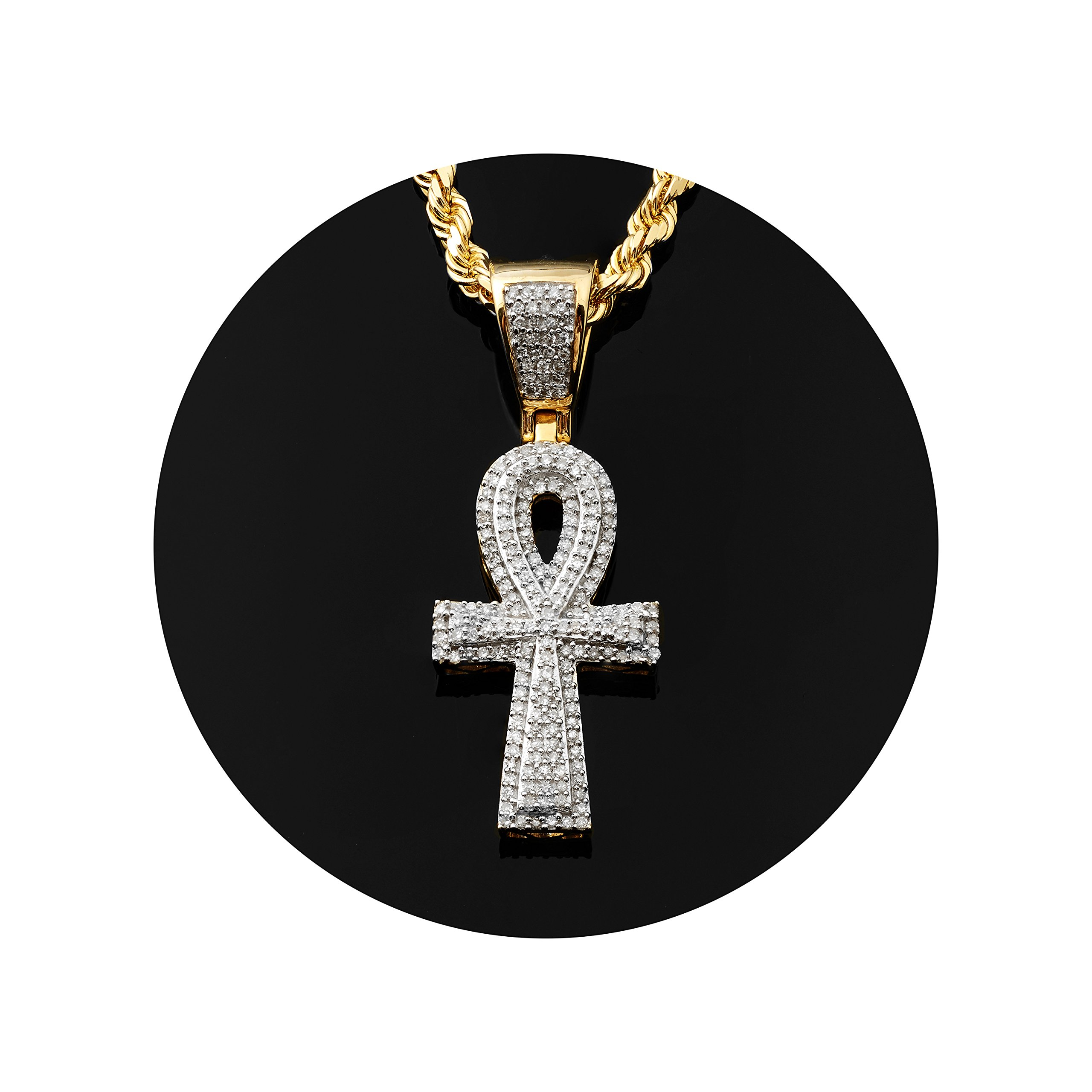 LoveBling 10K Yellow Gold 0.60ctw (carats) Diamond Ankh Cross 3D Pendant (0.57'' x 1.53'') by LOVEBLING