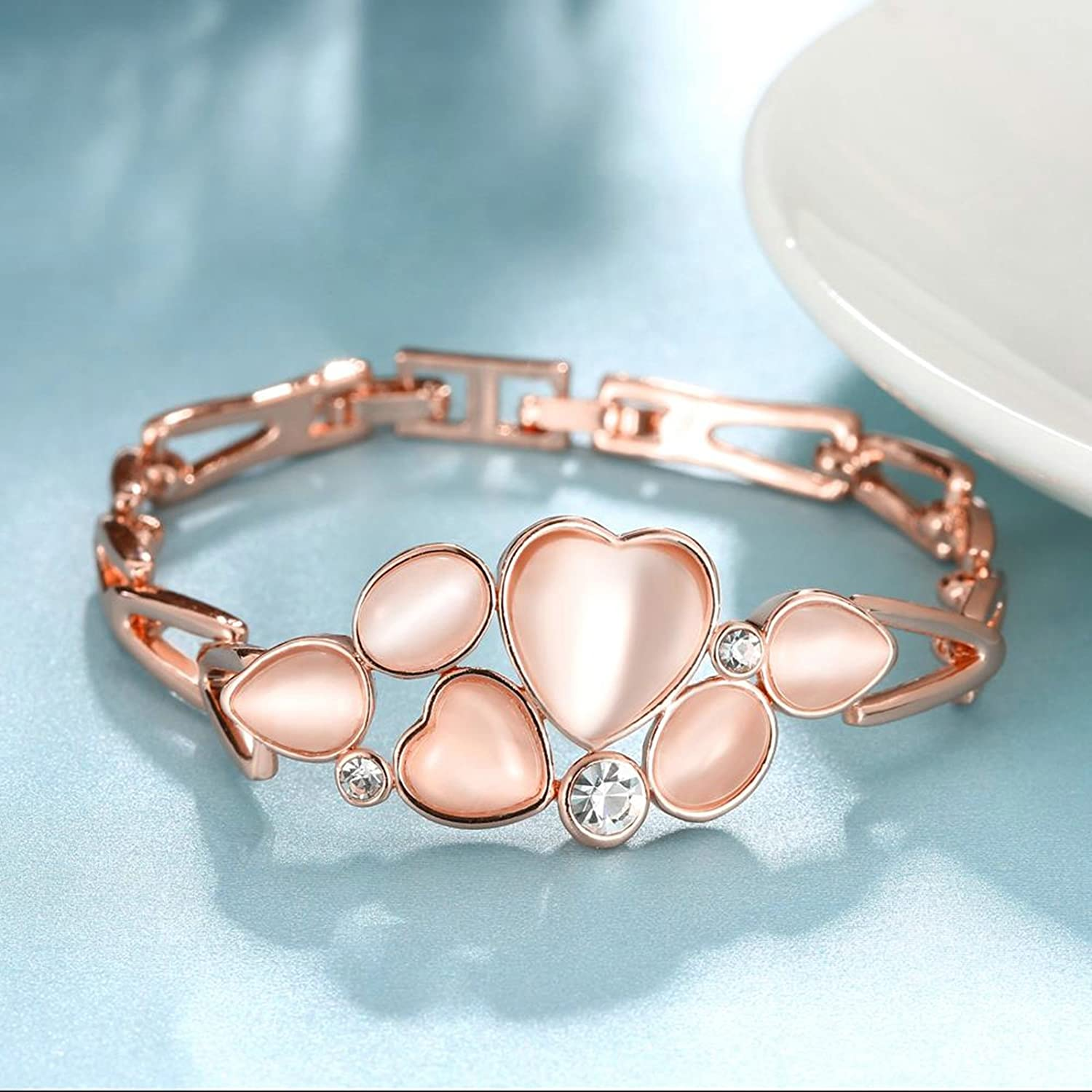 Aokarry Jewelry-Tin Alloy Colour Heart with Crystal Figaro Bracelet Bangle for Women Rose Gold
