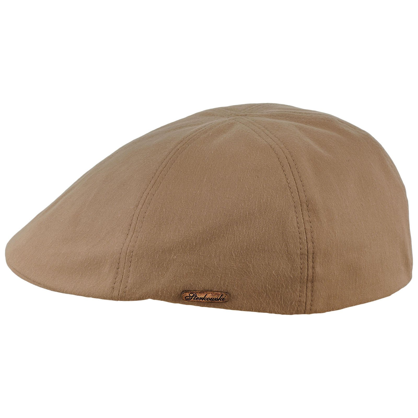 Sterkowski Light Breathable Emerizing Cotton 6 Panel Duckbill Flat Cap, Beige - 58cm = L = US 7 1/4 by Sterkowski (Image #1)