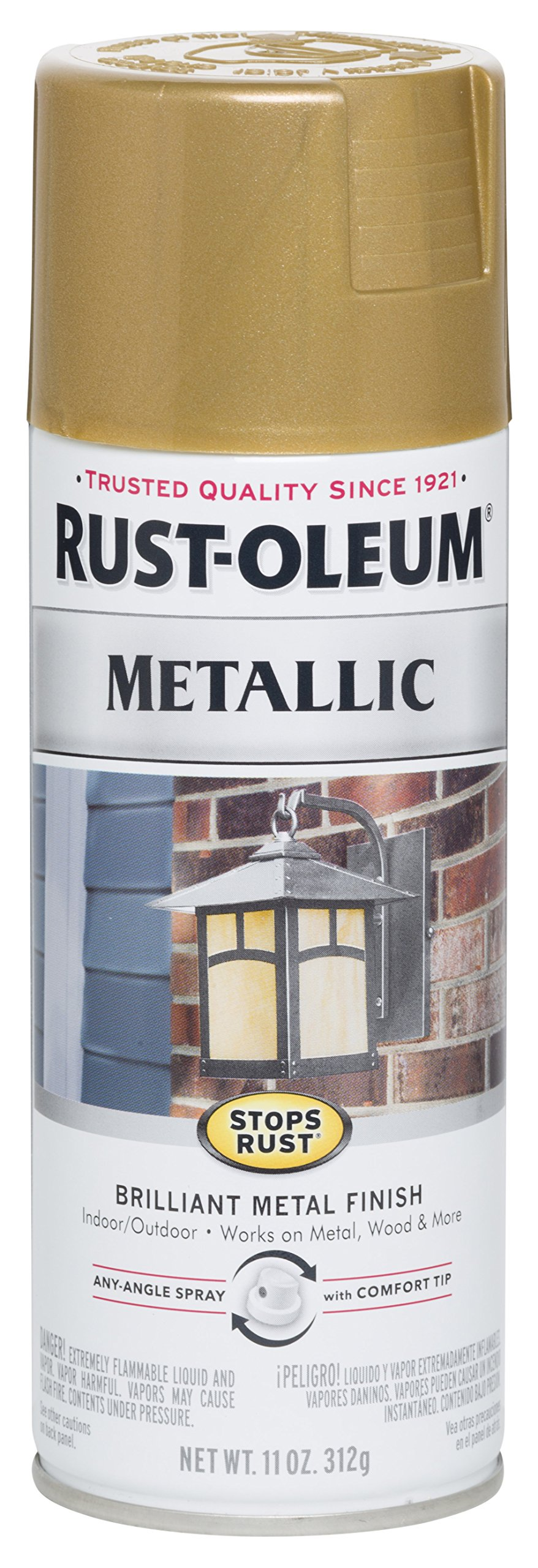 Rust-Oleum 7270830 Stops Rust Metallic Spray Paint, 11 oz, Gold Rush
