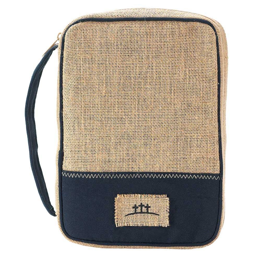 Golgotha Three Crosses Jute Clothe with Blue Cotton Large Bible Cover Case