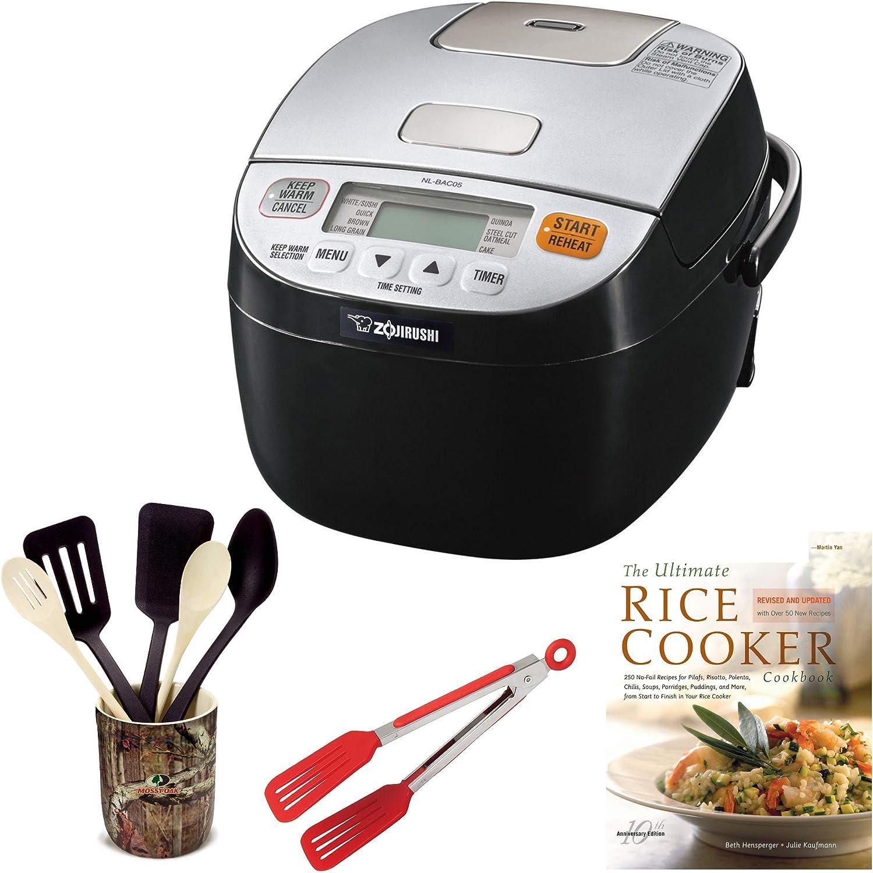 Zojirushi NL-BAC05 Micom Rice Cooker Warmer, Silver Black Includes 8-inch Nylon Flipper Tongs, Bamboo Stir Fry Spatula and Cookbook