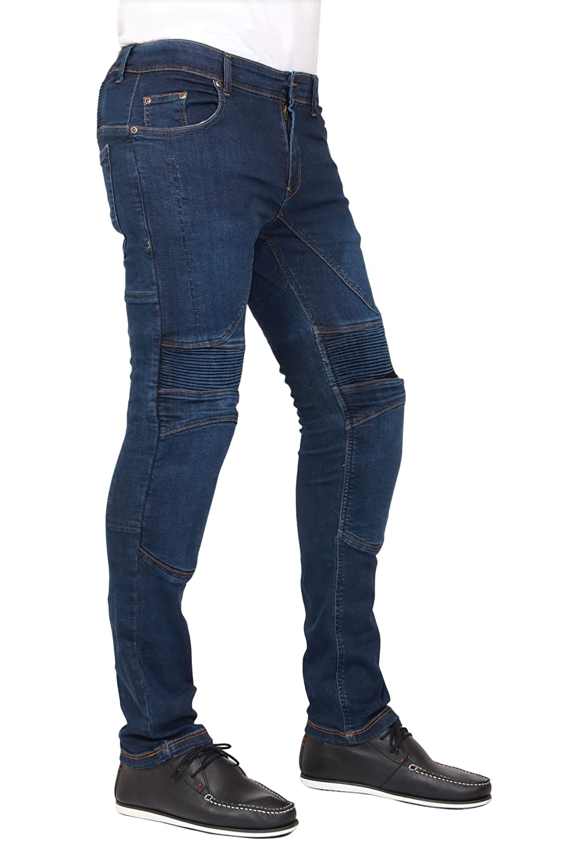 Jet Black Mens Motorcycle Skinny Slim FIT Denim Jeans with Dupont/™ Kevlar/® Lining