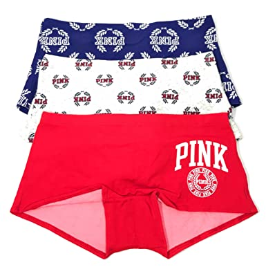 c86cce9f51 Victoria's Secrets Pink Boyshort Panty Set of 3 Large Blue/Gray/Red NWT