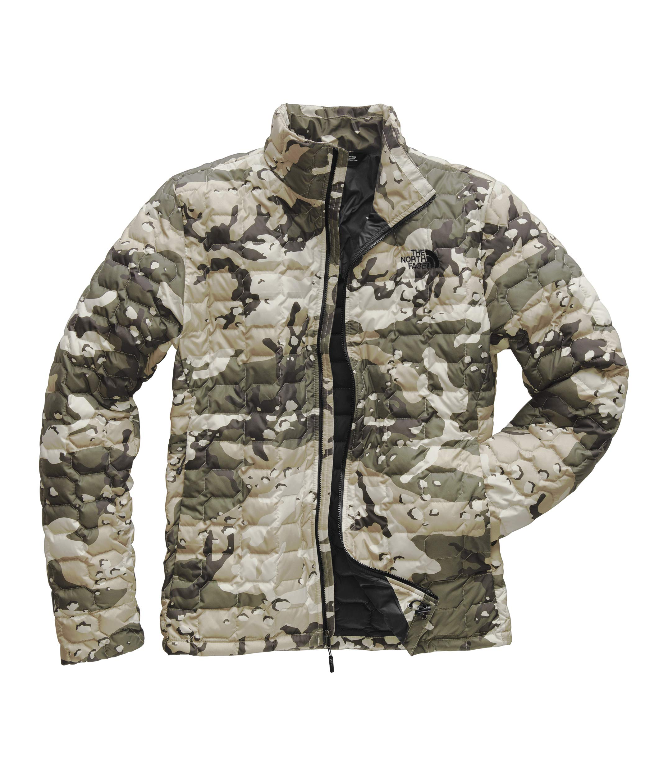 The North Face Men's Thermoball Jacket Peyote Beige Woodchip Camp Print Small