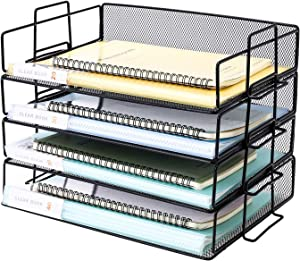 Delifox Letter Tray - 4 Tier Stackable Paper Organizer Metal Mesh File Holder, Office Desktop Organizer