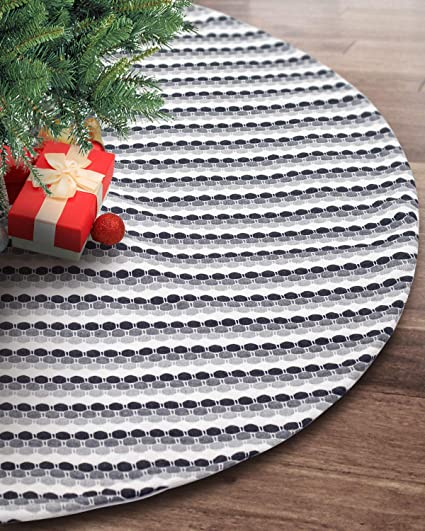 S Deal 48 Inches Wool Knitted Christmas Tree Skirt Double Layers Carpet Decor For Party Holiday Xmas Ornaments Gift Black Grey And White