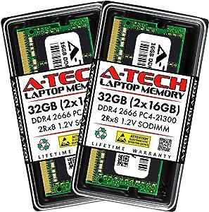 A-Tech 32GB (2x16GB) DDR4 2666MHz SODIMM PC4-21300 2Rx8 Dual Rank 260-Pin CL19 1.2V Non-ECC Unbuffered Notebook Laptop RAM Memory Upgrade Kit