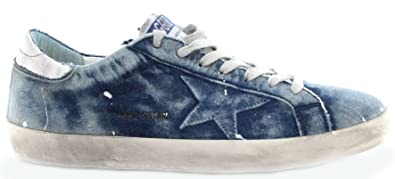 Golden Goose Herren Schuhe Sneakers Superstar Bleached Blu Blau Made in Italy