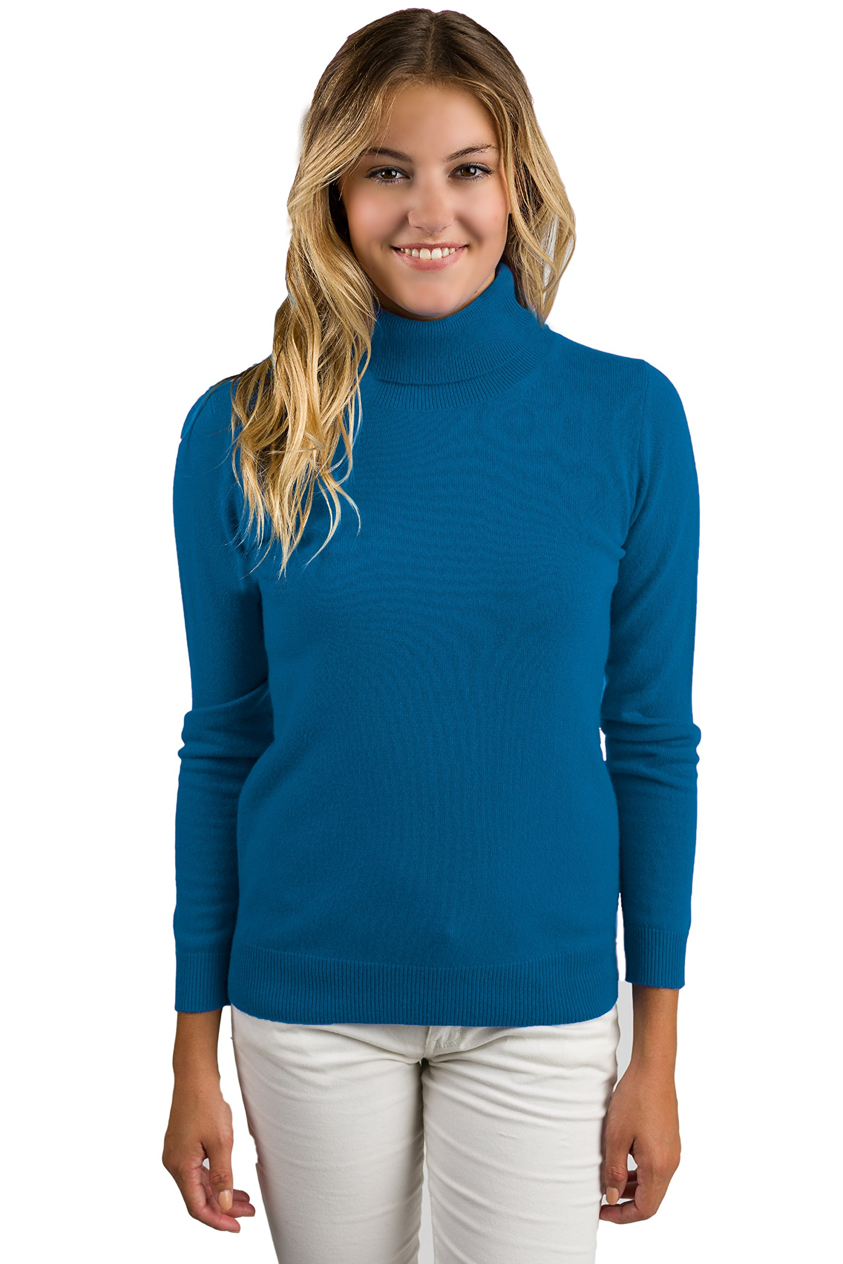 JENNIE LIU Women's 100% Pure Cashmere Long Sleeve Pullover Turtleneck Sweater (S, Peacock)