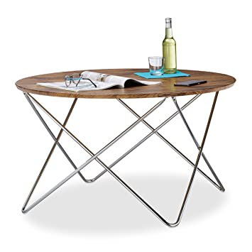 relaxdays table dappoint ronde grande table basse en bois look vintage pieds croiss cadre - Grande Table Basse Ronde