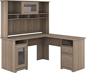 Bush Furniture Cabot L Shaped Computer Desk with Hutch, 60W, Ash Gray