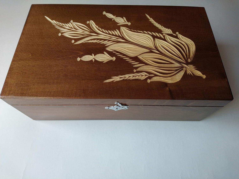 Caja de almacenaje de joya marrón enorme grande especial joyeros ...