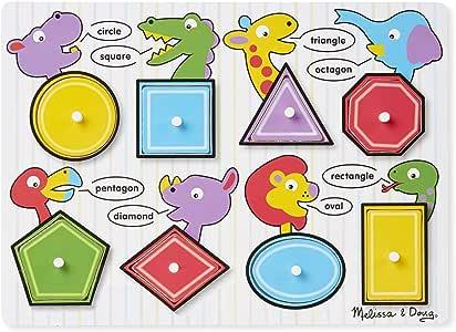 Melissa & Doug 3285 Shapes Wooden Peg Puzzle (8 pcs)