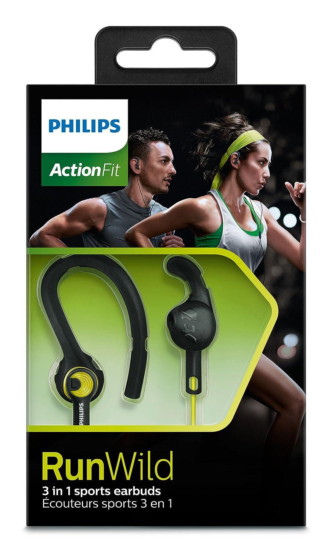 Amazon.com: Philips ActionFit RunWild Sport 3 Styles Headphones - Black/Green (SHQ1400CL/27): Electronics